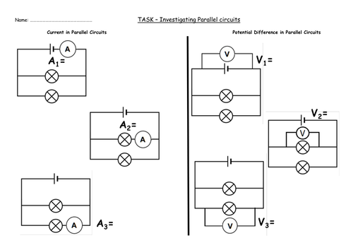GCSE AQA Physics P46 Parallel Circuits by Nteach Teaching – Parallel and Series Circuits Worksheet