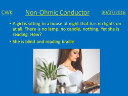 Non-Ohmic conductor lesson plan and presentation