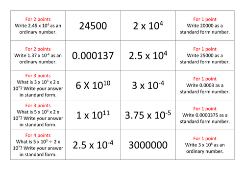Maths Standard Form Resources Worksheets Card Activities by – Standard Form Worksheets
