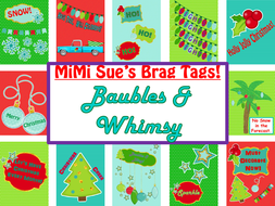 MiMi Sue's Brag Tags (Baubles & Whimsy) 12 Christmas Designs Holiday SWAG