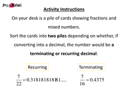 Terminating and Recurring Card Sort
