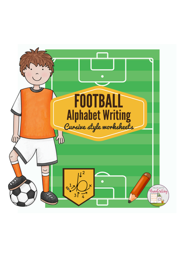 cursive handwriting football themed alphabet worksheets by helpwithhandwriting uk teaching. Black Bedroom Furniture Sets. Home Design Ideas