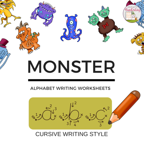 cursive handwriting monster themed alphabet worksheets by helpwithhandwriting teaching. Black Bedroom Furniture Sets. Home Design Ideas