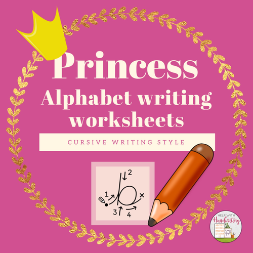 cursive handwriting princess themed alphabet worksheets by helpwithhandwriting uk teaching. Black Bedroom Furniture Sets. Home Design Ideas