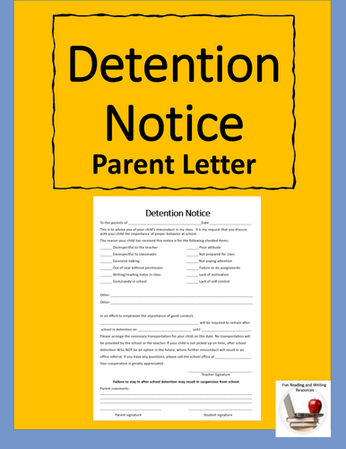 detention notice template detention notice editable by gregsmith137 us teacher