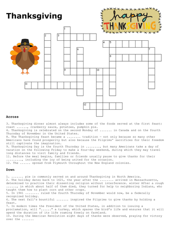 Thanksgiving Crossword and Word Search by sfy773 ...