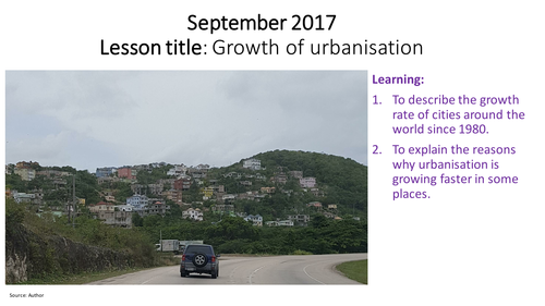 Growth of urbanisation in LICs, MICs and HICs