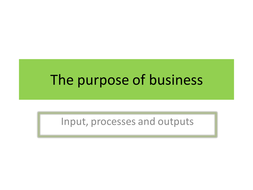 Powerpoint to go with worksheet the purpose of business including goods and services