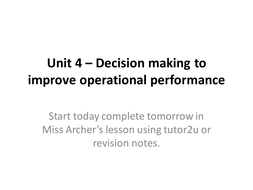 AQA AS A2 Business Studies Unit 4 Operations Management