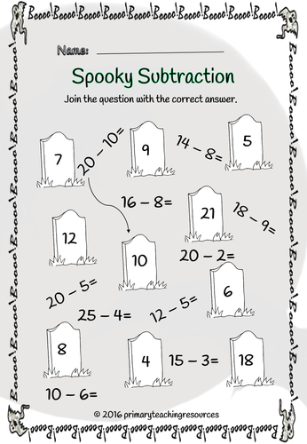 ks1 halloween spooky subtraction powerpoint and worksheets by primaryteachingresources. Black Bedroom Furniture Sets. Home Design Ideas