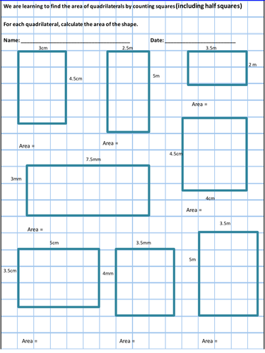 Area Work Sheets - All the area work sheets you will need for Y4 ...