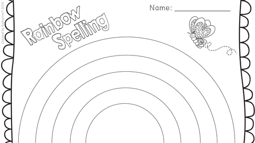 Independent spelling activity menu worksheets and child for Rainbow writing spelling words template