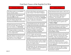 Causes of the English Civil War Card Sort