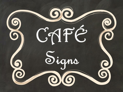 cafe daily 5 bulletin board posters signs black chalkboard curly