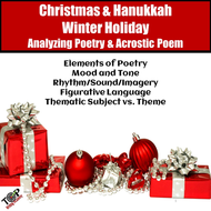 Christmas Hanukkah Activities Poetry Analysis & Acrostic Poem Writing