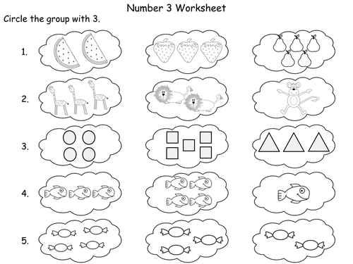 The Number 3 PowerPoint and worksheets by TeacherofPrimary – Number 3 Worksheets