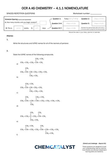 ocr a as chemistry srq worksheet nomenclature by chemcatalyst teaching resources tes. Black Bedroom Furniture Sets. Home Design Ideas