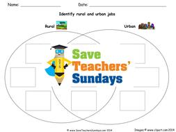 Classifying Jobs as Being Rural or Urban - Venn Diagram KS1 Lesson Plan and  Worksheet