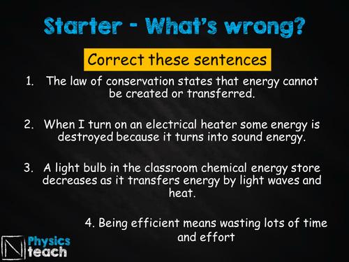 GCSE AQA Physics- P1.6-7 - Energy and Efficiency
