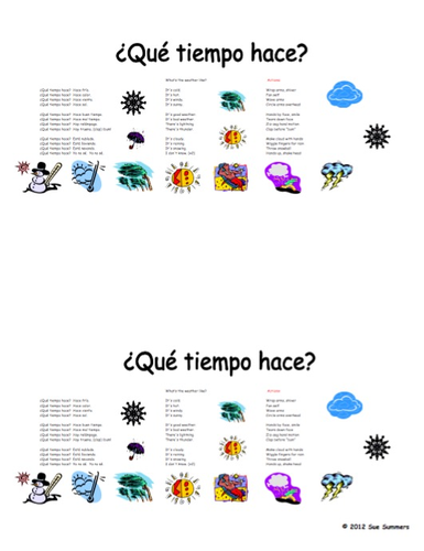 Spanish Weather Song With Actions Que Tiempo Hace By