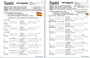 spanish verb conjugation charts present tense by suesummersshop