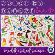 Middle School Science Color-by-Number Growing Bundle