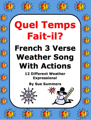 french weather song with actions quel temps fait il by suesummersshop us teacher lessons tes. Black Bedroom Furniture Sets. Home Design Ideas