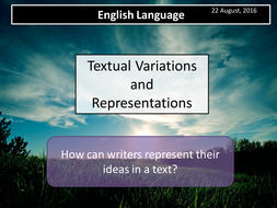 A Level English Language Paper 1 Section A- Variations and Representations- Lexis (Lessons 1 & 2)