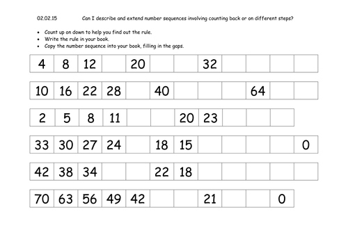 Year 3 number sequences and patterns differentiated worksheets by – Number Sequence Worksheets for Kindergarten