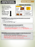 PHOTOGRAPHY Analysis sheets Level 0 SENTENCE STARTERS Differentiated writing frames SEN