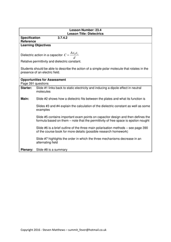Physics A-Level Year 2 Lesson - Dielectrics (PowerPoint AND lesson plan)