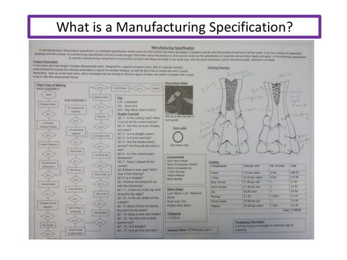 GCSE Textiles Manufacturing Specification Lesson