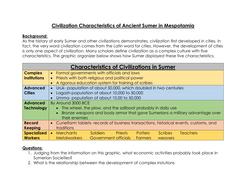 Civilization Characteristics of Ancient Sumer in Mesopotamia- Chart ...