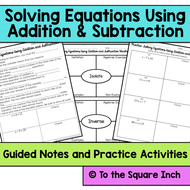 solving equations using addition and subtraction notes by katembee  worksheet