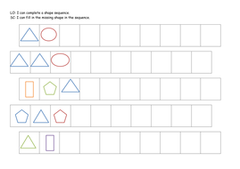 ks1 year 1 shape patterns complete the sequence new differentiated worksheets by acrosbie. Black Bedroom Furniture Sets. Home Design Ideas