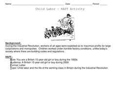 Revolution Child Labor Short Story Raft Activity With Rubric