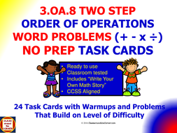 3oa8 Math 3rd Grade No Prep Task Cardssolve Two Step Word