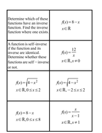Self-Inverse Functions (for C3)