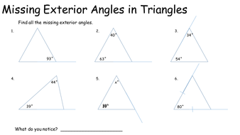 Missing Exterior Angles In Triangles By Keithellingham Teaching Resources Tes