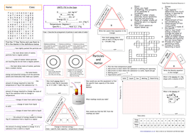 AQA Particles and Matter Revision A3 Worksheet (1-9 grade