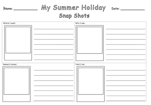 back to school activity summer holiday selfies snapshots by jennyhelmer teaching resources. Black Bedroom Furniture Sets. Home Design Ideas