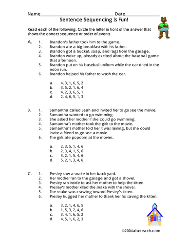 Sentence Sequencing Worksheets : Worksheet sentence sequencing elementary by abcteach