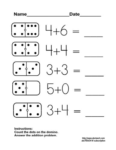 Worksheet: Domino Addition 1 (kdg/primary) by abcteach