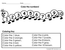Worksheet: Color the Numbers (prek/primary) by abcteach - Teaching ...
