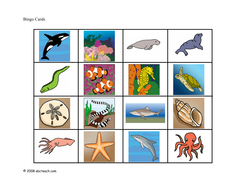 Bingo Cards Ocean Animals Elem