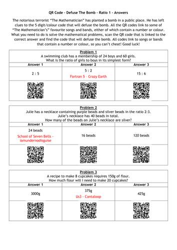 QR Code - Defuse The Bomb Puzzles Bundle by alutwyche - Teaching ...