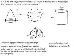 Volume and surface area of spheres, pyramids, cones and frustrums by ...