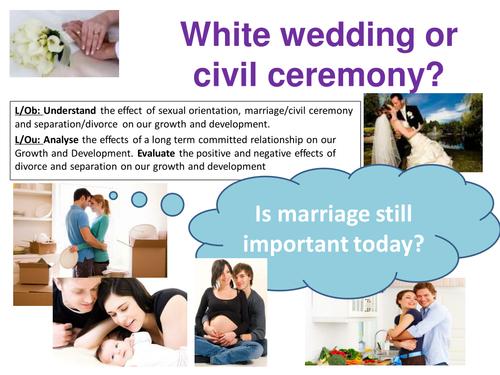 EdExcel GCSE Health & Social Care- Unit 1-Human Growth & Development-White wedding or civil ceremony