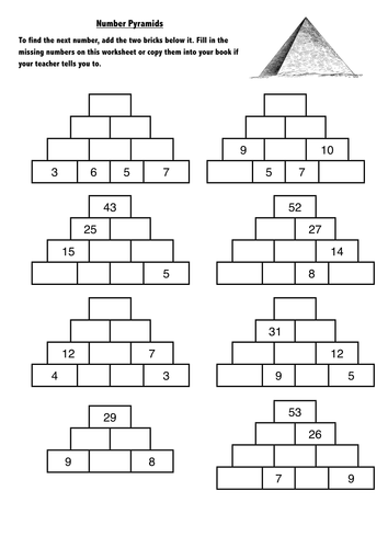 number pyramids puzzles year 3 4 by dave orritt teaching resources tes. Black Bedroom Furniture Sets. Home Design Ideas