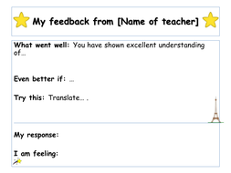 Feedback Template By Profdefrancais Teaching Resources Tes